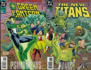 The covers to Green Lantern #57 and New Titans #116 combined to form one image of Green Lantern and Changeling fighting the Titans