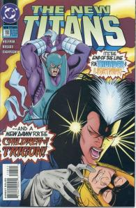 Thunder and Lightning, who hadn't been seen in years, are taken by Evil Raven in New Titans #118.