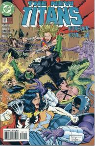 The cover to New Titans #121.  This is the second version with the correction that included pages originally missing from the issue (the error cover had a dark blue-colored logo).
