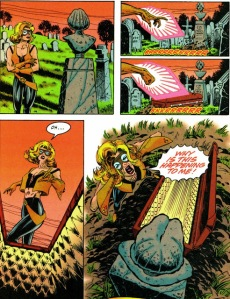 Terra pries open her notorious predecessor's coffin in what has to be the most notorious scene from a 1990s Titans comic and one that would ask a question that took about a decade to answer.