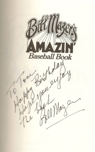 The title page of my copy of Bill Mazer's Amazin' Baseball Book, signed by the author for my thirteenth birthday.
