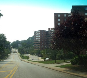 My freshman dorm, Wynnewood Towers of Loyola College in Maryland.  The building is now Newman Towers and the school is now Loyola University Maryland.
