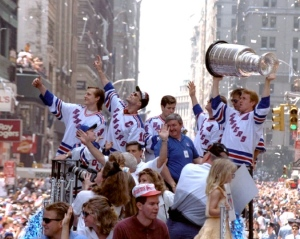 The Rangers hoist the cup on Broadway.