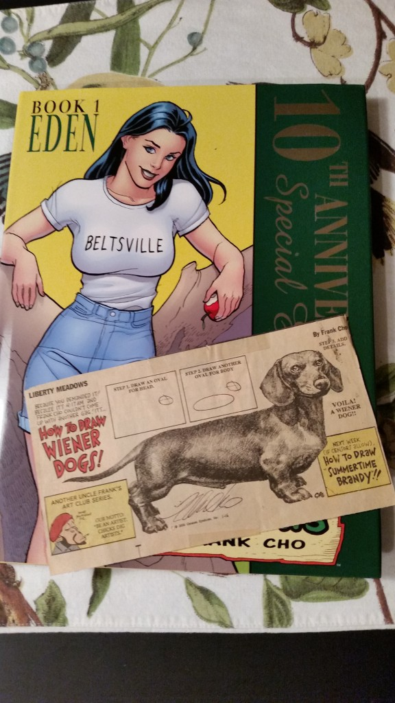 The Liberty Meadows hardcover and old Washington Post Sunday strip that I had signed by Frank Cho.