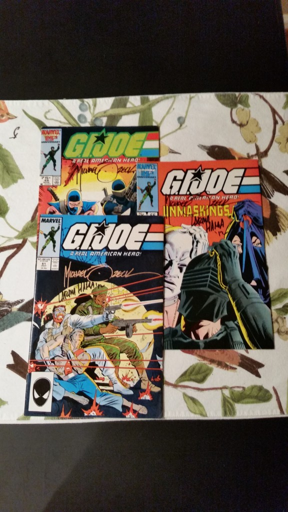 G.I. Joe comics signed by Mike Zeck (and Larry Hama from 2012).