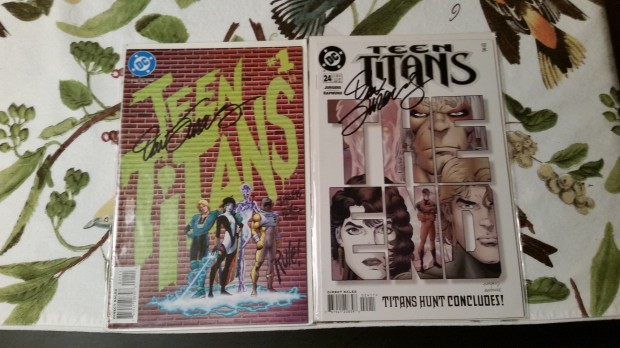 Dan Jurgens signed issues from his Teen Titans series.